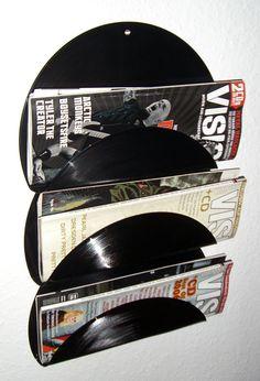 Vinyl magazine holder