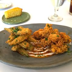 Your Oyster Recipe of the Day: Fried Oysters and Okra. Chef Chris Dupont of Birmingham's Cafe Dupont, perfectly fries oysters (crisp batter with melt-in-your-mouth tender oysters) and pairs them with delicious fried okra. Oyster Recipes, Fried Oysters, Okra, Recipe Of The Day, Crisp, Main Dishes, Seafood, Curry, Chicken