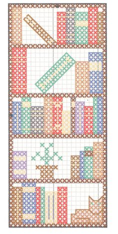 Bookcase bookmark . ... no color chart available, just use the pattern chart as…