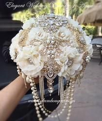 Gatsby Brooch Bouquet Gold Brooch Bouquet Broach Bouquet Ivory and Gold Bouquet Keepsake Bouquet Custom Bouquet Jewelry Bouquet DEPOSIT