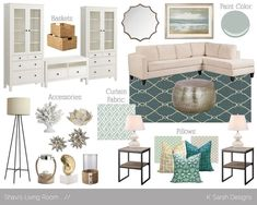 Living Room mood board from ksarahdesigns.typepad.com  Love the fabrics in this room