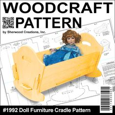 """Doll Furniture Cradle DIY Woodcraft Pattern #1992 - Easy to assemble. No tools or hardware required. Just slide the pieces together for a sturdy attractive cradle for your dolls. 11""""H x 21""""W x 10""""D. Pattern by Sherwood Creations  #woodworking #woodcrafts #pattern #doll  #craft #furniture"""