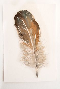 Feather painting original. Watercolor art by rakla on Etsy, $18.00