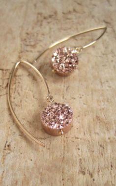 rose gold druzy earrings