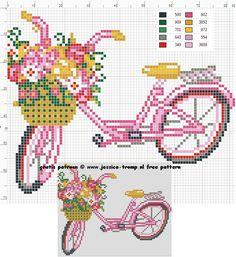 Pretty Cute Bike Cross Stitch or Perler Bead Pattern