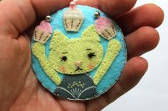Felt Brooch, Kawaii Cat.