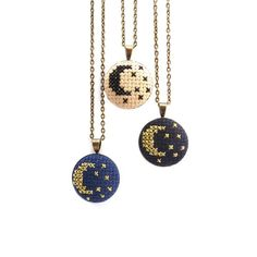 This necklace was inspired by the starry skies of a Northern California night, but it would look great anywhere on Earth! This moon and stars necklace is hand s