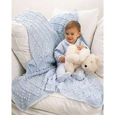 Bobble Afghan Free Intermediate Baby's Crochet Pattern. This beautiful baby afghan features a lovely diamond bobble pattern. Measures approx. 34 x 48 ins . Crochet with Bernat Baby Coordinates on size 5 mm (U.S. H or 8) hook. Pattern More Patterns Like This!