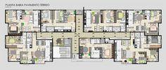Resultado de imagem para planta baixa 6 apartamentos por andar