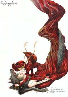 The anthropomorphic wolf symbolizes a man, who could be a lover, seducer or sexual predator.