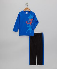 Take a look at this Blue Athletes Tee & Black Track Pants - Toddler & Boys on zulily today!