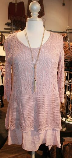 Oh, rose blush how we love you. 3/4 sleeve sweater with attached under layer. What a beautiful piece. S/M & M/L $54.00