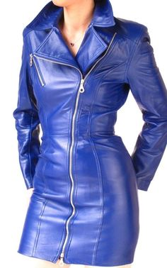 MIDNIGHT  BLUE LEATHER  DRESS  - BIKER STYLE  NORTH BEACH #NORTHBEACH #BIKER #firstdates