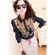 $7.78 Sexy Lapel Collar Voile Splicing Floral Embroidery Long Sleeves Chiffon Blouse For Women