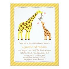 Stylish Colourful Giraffe Baby Shower Invitations