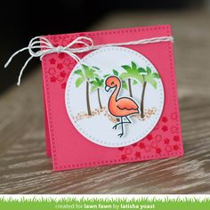 Lawn Fawn - Flamingo Together, Cross-Stitched Square Stackables, Cross-Stitched Circle Stackables, Guava cardstock, Guava Ink Pad, Silver Sparkle LawnTrimmings _ card by Latisha for Lawn Fawn Design Team