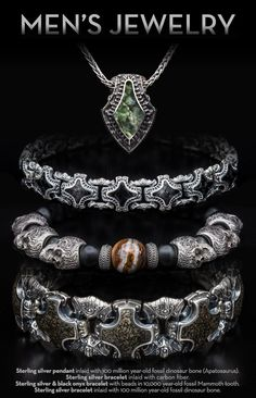 William Henry is a well-known creator of exclusive and unique bracelets for men. These men's bracelets includes the latest fashion trend with rare and exotic materials such as dinosaur fossils, carbon fiber and other rare materials. Mens Silver Jewelry, Sterling Silver Bracelets, Sterling Silver Pendants, Gold Jewellery, Silver Rings, Bracelets For Men, Fashion Bracelets, La Mode Masculine, Men Necklace