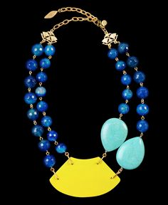 """$ 115  David Aubrey  Gold-toned chain  Resin beads  Turquoise stones  Neon wood centerpiece  Lobster claw clasp closure  Necklace measures approximately 21"""" at fullest length"""