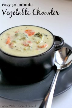 Easy Homemade Vegetable Chowder ~ Butter with a Side of Bread #soup #recipe