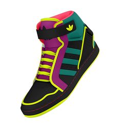 """NEON SNEAKERS! Fluorescent shoes. So fly, makes me wanna breakdance. """"1. 2. 3. Get loose now."""""""