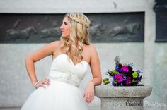 Pretty braided wedding bride hairstyle