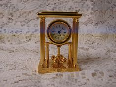 Park Lane Collectible Brass Miniature Quartz Novelty Clock Anniversary