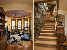 Gorgeous staircase & insanely great workout room  - love how it fits so great into the theme