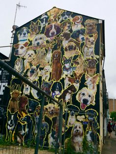 Street Art in Brighton, UK. Letting the dogs out Community Art, Cool Artwork, Street Painting, Public Art, Murals Street Art, Art, Graffiti Art, Outdoor Art, Park Art