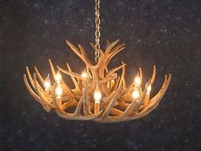 CAST WHITETAIL ANTLER CHANDELIER- Rustic Cabin Lighting Made in USA