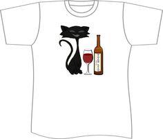 Black Cat Wine wine tee black cat tshirt by OriginalMindsTees