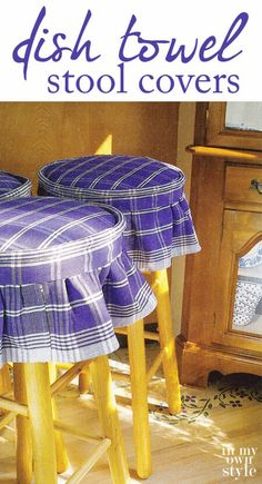 Easy Ways to Make Indoor and Outdoor Chair Cushion Covers Diy Bar Stools, Diy Stool, Kitchen Stools, Diy Chair, Stool Cushion, Chair Cushion Covers, Bench Covers, Pillow Covers, Box Cushion