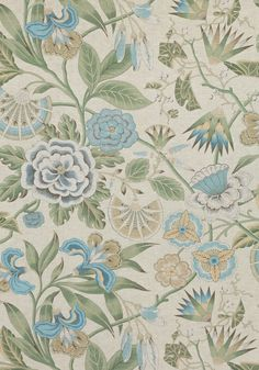 Cleo Fabric from the Savoy Collection by Anna French is a large print sky blue, green and flax floral fabric that uses a Chinoiserie painterly style. Love Wallpaper, Fabric Wallpaper, French Designer Brands, Anna French, French Pattern, French Fabric, Floral Fabric, Quilting Designs, Printing On Fabric