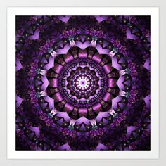 Purple Fairy Flower Mandala Art Print by Zandiepants - $15.00