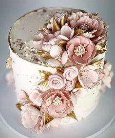 Elegant Birthday Cakes, Birthday Cake With Flowers, Beautiful Birthday Cakes, Elegant Cakes, Beautiful Wedding Cakes, Gorgeous Cakes, Pretty Cakes, Cute Cakes, Designer Birthday Cakes