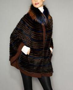 722b068da79 The Fur Vault Fox-Fur-Trim Knitted Mink Fur Cape - MULTI Knitted Cape