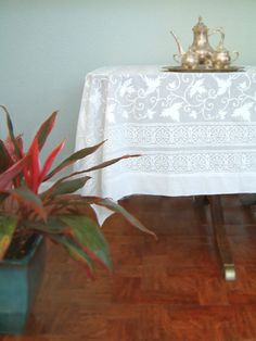 Ivy Lace ~ Elegant White Wedding India Block Print Table Cloth