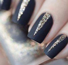 Matte black and gold glitter