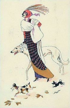 Sager, Xavier (b,1870)- Woman Walking Borzoi w Tag Along Dogs
