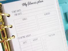 Printable personal planner insert: My fitness plan by hanaflowerdesigns on Etsy. Plan your week with these cute personal fitness planner inserts!