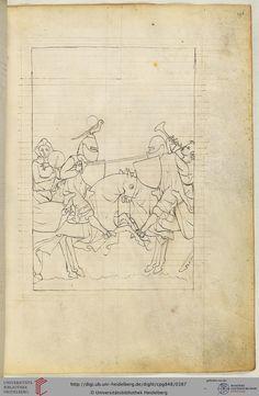 Diese unfertig gebliebene, nicht illuminierte Federzeichnung zeigt eine Turnierszene. Hinter den beiden berittenen Speerkämpfern sind Spielleute auf Pferden zu sehen, die für die musikalische Untermalung sorgen.