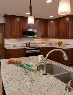Quartz countertops Cambria Windermere Dark Cabinets Backsplash Ideas