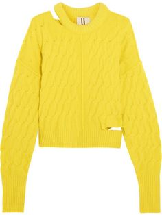 Topshop Unique - Distressed Cable-knit Sweater - Yellow  075dd3074