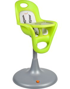 Flair Pedestal Highchair with Pneumatic Lift - no cracks or crevices so easy to clean and foam seat which you can remove to clean  Also on 6 casters so glides without scratching the floors
