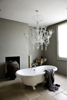 #bathroom #chic #grey #crystal chandelier