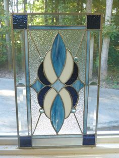 5b69026f23ecc9 Blues Real Stained Glass Beveled Window Panel Made in USA