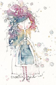Pretty artistic style—Artistic Girl no. 1—watercolor❣ danielle donaldson