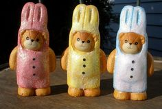 Lucy and Me Bears - Enesco - 3 Bunny Rabbits - Easter 1994