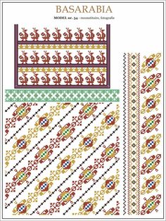 ie din MOLDOVA / Basarabia, Soroca Folk Embroidery, Machine Embroidery Designs, Embroidery Patterns, Cross Stitch Borders, Cross Stitch Patterns, Moldova Flag, Romanian Lace, Art Textile, Textiles