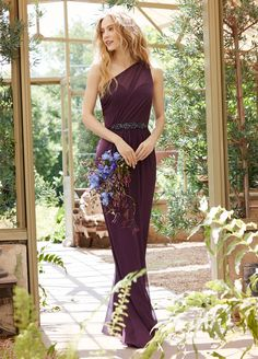 JH5554. Purple sheer bridesmaid dress. Eggplant chiffon draped one shoulder A-line bridesmaid gown, natural waist with gathered skirt. http://itgirlweddings.com/occasions-fall-2015-collection/