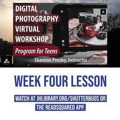 SUMMER READING PROGRAM UPDATE: Week Four of the Digital Photography Workshop for Teens is now available! Watch the video about focal points and what your next photography project is at jhlibrary.org/shutterbugs or jhlibrary.readsquared.com. 📷 #SRP2020 #ImagineYourStory